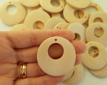 40MM natural wood teethers, edges unfinished - Wooden drums 40 mm, unfinished edges, natural-Wooden teether-Wooden supplies
