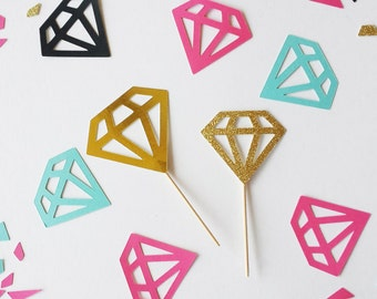 Diamond cupcake or Donut toppers! 12 per Order. Perfect for a Bridal shower, Bachelorette party, or Engagement party!
