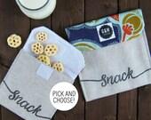 Reusable snack bag, lunch, personalizable, gift, school, kids, children, work