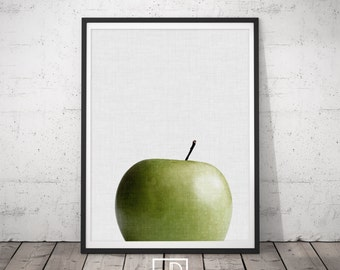 Apple Wall Art, Fruit Print, Fruit Poster, Green Apple Artwork, Apple Modern Art, Kitchen wall art, Minimalist Decor, Pink Decor, Digital