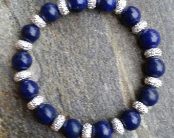 Natural Lapis Lazuli stretch bracelet, blue bracelet