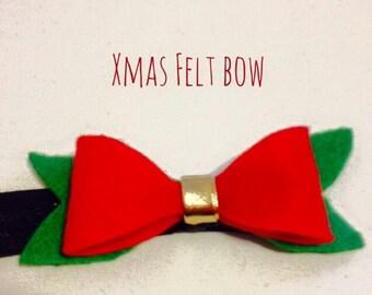 Xmas felt bow headband