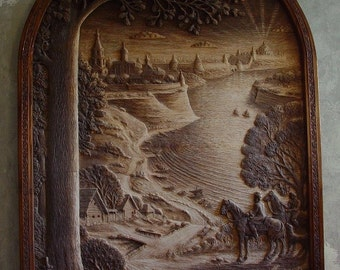 "Wood carving - ""The Travelers"""