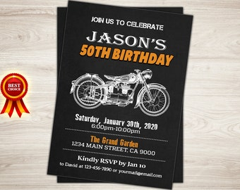 Motorcycle Birthday Invitation. Chalkboard. Cafe Racer Motorbike Birthday Party Invitation for men. Retro 30th 40th 50th birthday invitation