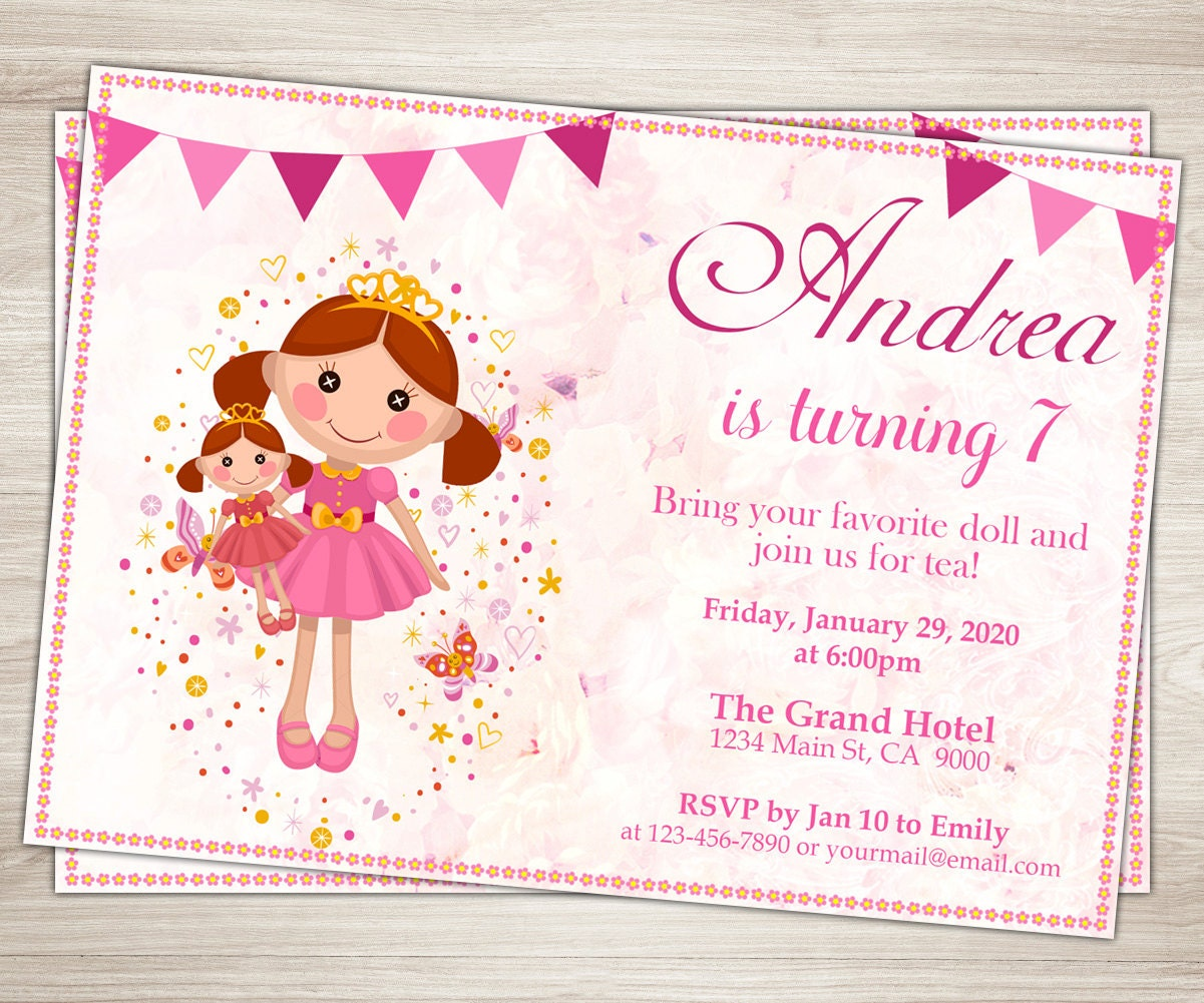 Doll Birthday Party Invitation Dolly and Me Party Invite – Doll Party Invitations