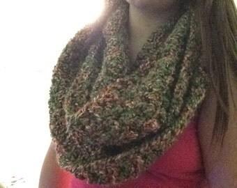 Earth Tone Crochet Infinity Scarf