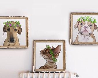 Set of 3 - Custom Pet Portrait Series