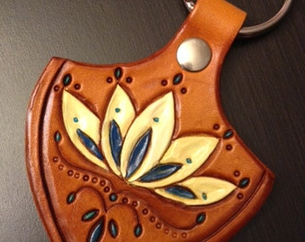 Lotus Leather Keychain; Leather Tooled Keychain; Leather Keyfob - Can be personalized too!