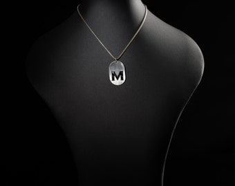 Letters pendant made from carbon and stainless steel with Crystal - indiv. A - Z