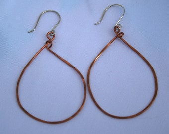 hammered copper hoop earrings with sterling silver ear wires
