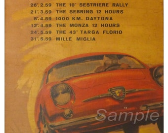 Vintage Fiat Abarth Racing Poster Print