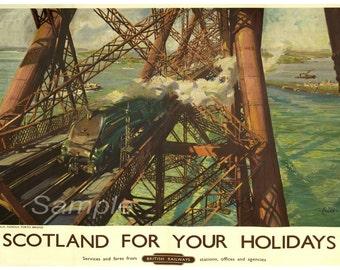 Vintage Forth Bridge British Railways Poster Print