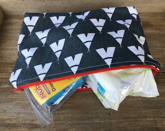 Navy & white teepee large lined zipper pouch, diaper pouch, diaper and wipe pouch, handmade cotton zipper pouch, lined zipper pouch