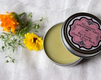 Red Thyme Healing Hand & Foot Balm with Lanolin - repairs cracked skin, natural antiseptic properties, deep moisturizing salve - Hand made