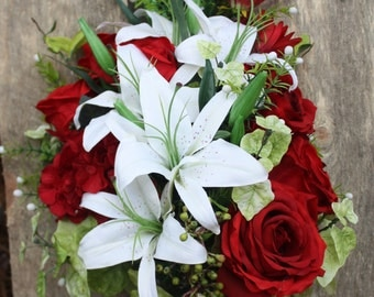 Silk, red and white bridal bouquet.