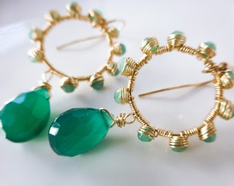 Green Onyx Earring Emerald Hoop Earrings Wire Wrapped Onyx Earrings Emerald Earrings, Green Onyx Dangle Earrings, Emerald Dangle Hoops