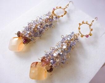 Blue Tanzanite, Orange Carnelian and Pink Tourmaline Elegant Evening Bridal Wedding Gold Filled Cluster Earrings