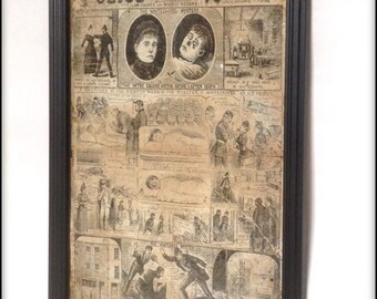 Aged Reproduction Victorian Police News Jack the Ripper cover Catherine Eddowes.