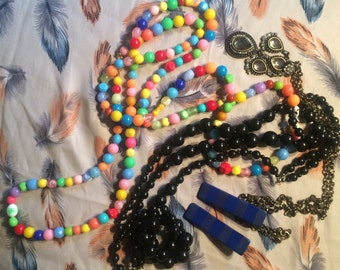 Three necklaces and a pair of earing