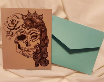 Sugar Skull 12 Blank Greeting Card Set