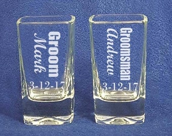 Engraved Shot Glasses Groom Groomsman Wedding Gifts cheaper the more you get