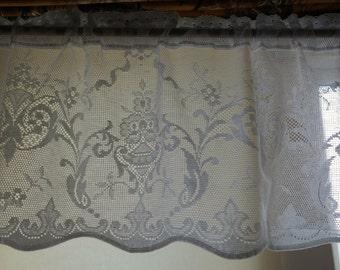 "Vintage cotton lace cafe curtain Nottingham lace valance brise-bise crafts Lucinda Victorian design 12"" drop sold per yard/metre"