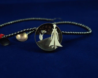 The Little Prince and the Rose Hematite Necklace with Sterling Silver Pendant