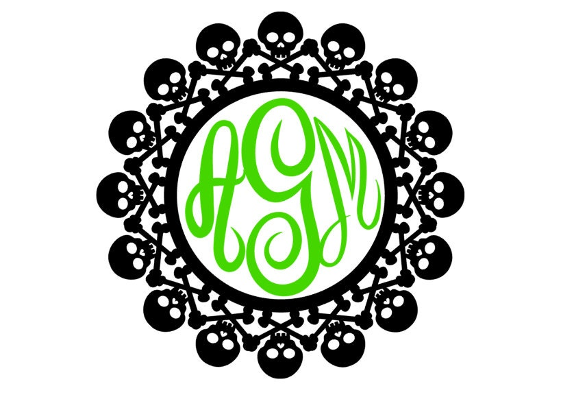 Vinyl Decal Skull Monogram Frame Perfect For Halloween Fall