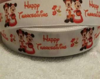 """3 yards, 7/8"""" happy Thanksgiving mickey and Minnie design grosgrain ribbon"""