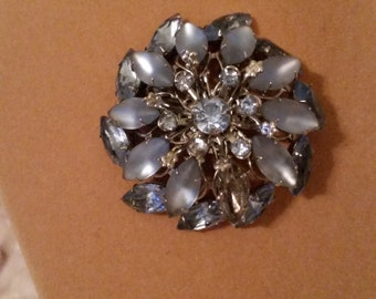 Vintage 1960s Blue Art Glass Brooch