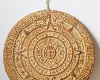 The Aztec calendar. Piedra del sol. Mayan calendar. Produced in Mexico
