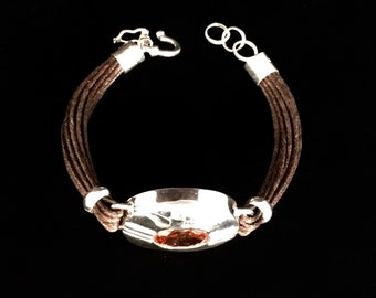 Silver and Leather Bracelet with Brown Zircon