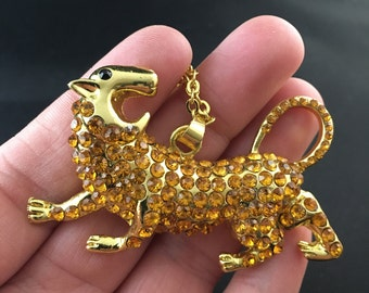 Gold Tone and Rhinestone Angry Big Cat Pendant