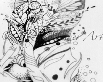 Custom Zentangle Feather Tattoo Design