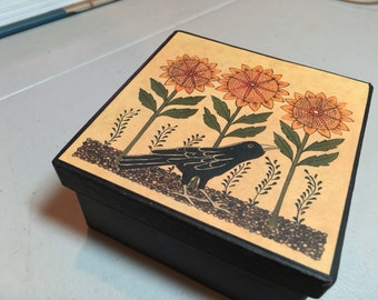 Crow and sunflower papier mache storage gift box
