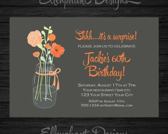 Orange flowers in jar Surprise Birthday Invitation, adult, 30th, 40th, 50th, 60th, women, female, custom invite, digital file, you print
