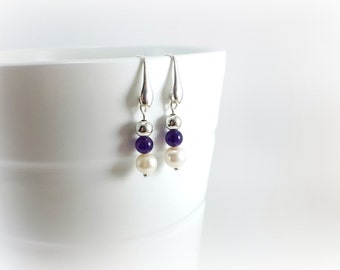 Dangling earrings, Pearl, amethyst and sterling silver beads