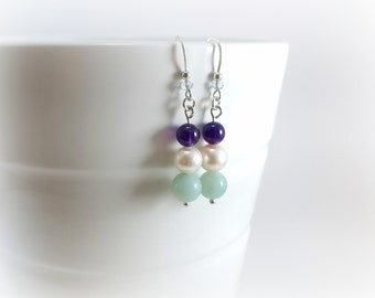 Earrings culture Pearl, ears pendant, Topaz, amazonite and Amethyst
