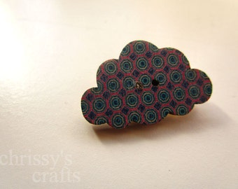 Vintage Button Cloud Brooch