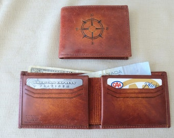Compass Rose, Horween leather wallet, billfold, hand dyed, 6 credit card slots, divider for bills, Canadian made