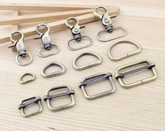 Antique Bronze Hardware (1 PCS of Lobster Clasp, D-ring and Buckle), 5 Sets