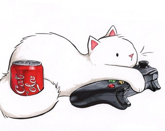 "Gamer Cat Coca Cola Kitty Print 4x6"" Xbox Coke Soda Art for Nerds and Video Gamers"