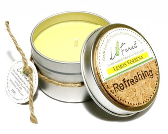 Now 25% OFF/ Aroma Scented Tin Handmade Soy Candle: Lemon Verbena ( Refreshing )