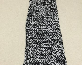 4 ft by 7 inches black and white scarf