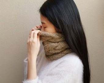 Gray Cable Neckwarmer - Knit Cowl - Knit Neckwarmer - Winter Cowl