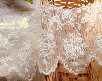 White Embroidery Lace Trim, White Floral Wedding Bridel Lace Scallop Edges Gauze Lace 4.3 Inches/11cm Width - Lace Trim One Yard