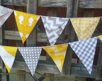 Grey and yellow Bunting, nursery bunting, baby bunting, baby shower, nursery decor, party decorations
