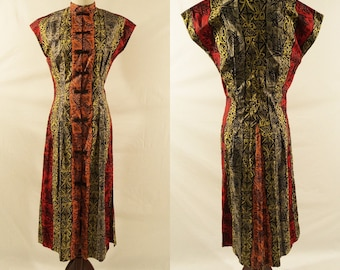 1940s Tribal Print  Short Sleeve Dress