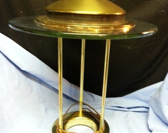 Brass and Glass Halogen Desk Lamp with Dimmer Switch
