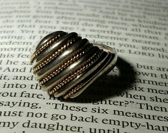 Sterling silver and Gold Statement ring 5 1/2